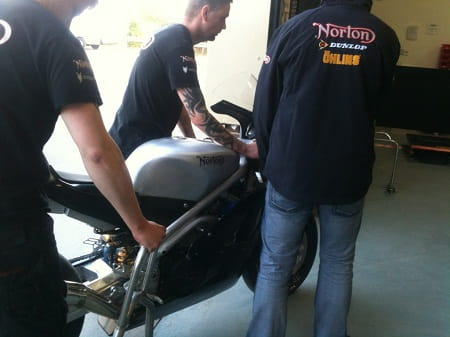 Norton's 2013 TT bike being wheeled in to the factory following a shakedown test. Picture copyright Saga Group and Bike Social.