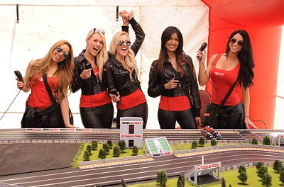 Bennetts Babes get some practice laps in on the new Bennetts bike Scalextric.