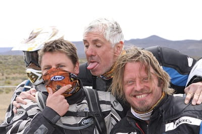 Charley Boorman and his mates. Billy wasn't smiling when his jacket locked up in his rear wheel!