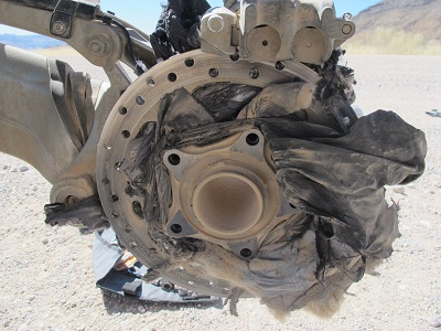 Put a Touratech jacket into a rear wheel at 140kph and this is what comes out of the other side.