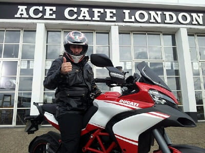 Comedian Ross Noble outside the Ace Cafe this morning