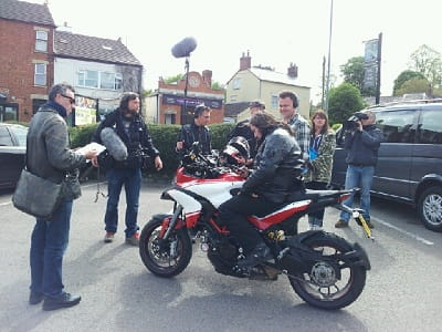 Ross Noble on his Ducati Multistrada 1200S Pikes Peak edition somewhere in Northamptonshire.