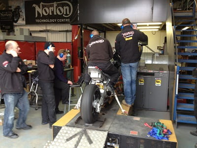 Norton's fire-breathing TT racer on the dyno. See the video here!