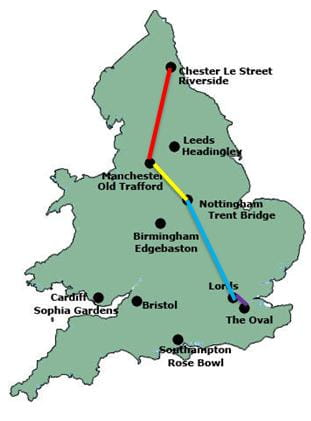 Darren Gough's Ashes tour route