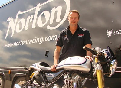 Norton boss Stuart Garner poses with a 961 Commando