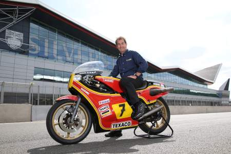 Steve Parrish on Barry Sheene's Suzuki