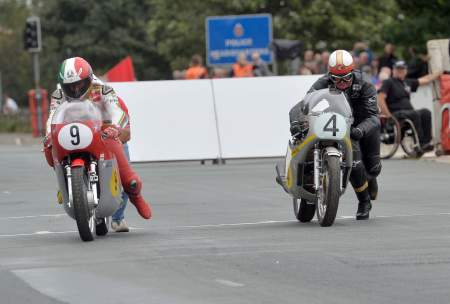 Agostini gets a shove but McGuinness tries the push start