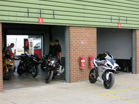 Preparing the bikes in the garage