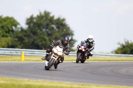 Kev with his Triumph on track