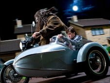 Harry Potter travels by sidecar