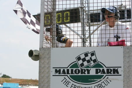The flag is drawn on Mallory Park