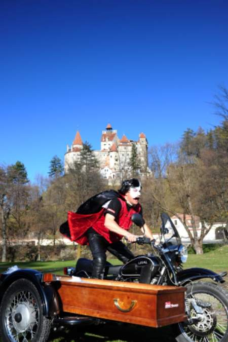Biking Dreams winner Nick Cunningham rides by Dracula's castle