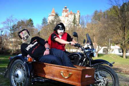 Biking Dreams winner Nick Cunningham as Dracula with friend Nick Jackson as Frankenstein's Monster
