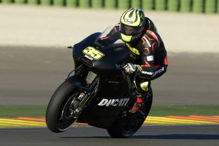 Cal Crutchlow gets his first taste of a Factory Ducati at Valencia