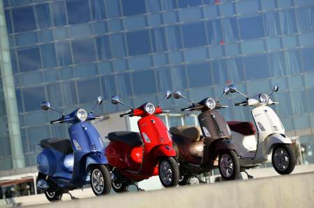 Vespa Primavera; four of the six available colours