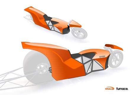 EV1000's design for their World Record attempt at the Electric Drag Bike 1/4 mile