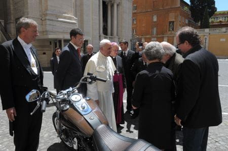 The Pope was presented with a Dyna Super Glide