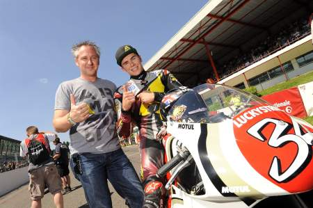 Michael Bartholemy with Scott Redding on board Kevin Schwantz's Suzuki