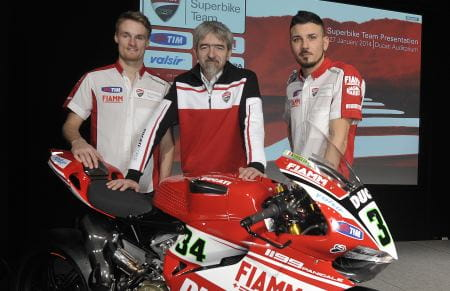 Ducati's Davies and Giugliano with Corse Boss, Dall'Igna