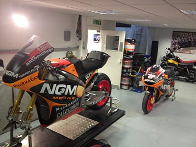 Colin Edwards bike waits for prep. It's for sale. Fancy it?