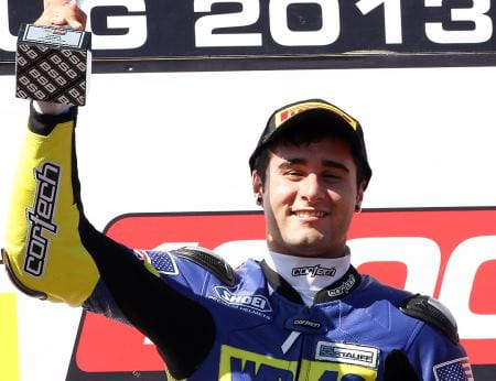 Aquino on the podium at Cadwell Park