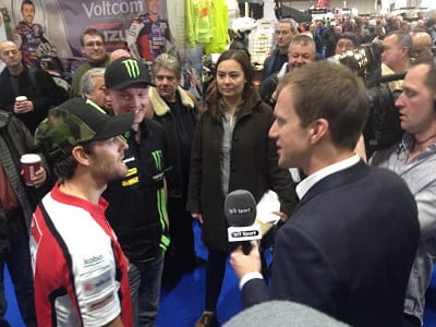Hodgson interviews MotoGP gods Bradley Smith and Cal Crutchlow at the London bike show
