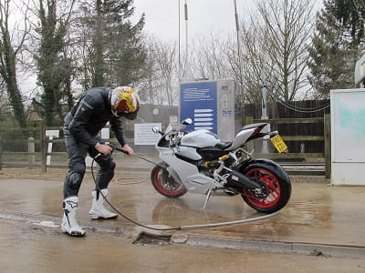 The glamour of road testing... You can't keep an 899 Panigale dirty, even when riding it in dampest February.