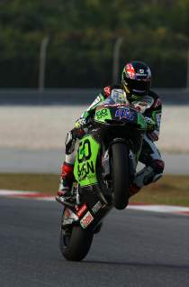 Redding wheelies during pre-season testing
