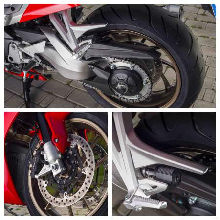 Trademark single-sided swingarm, new forks and adjustable rear shock.