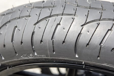Michelin's Pilot Road 4 and those sipes, which clear the water from the tread.
