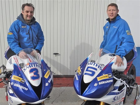 Old but gold! Rutter and Johnson show off their new team colours and bikes for the Supersport TT