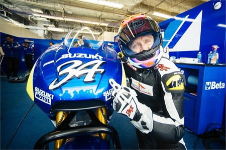 Schwantz tests Suzuki MotoGP bike