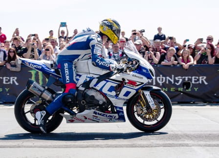 Guy Martin launches off from the TT start line in 2013