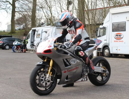 Plater testing earlier this year at Cadwell Park. Sadly we couldn't get hold of a picture of the new bike, yet!