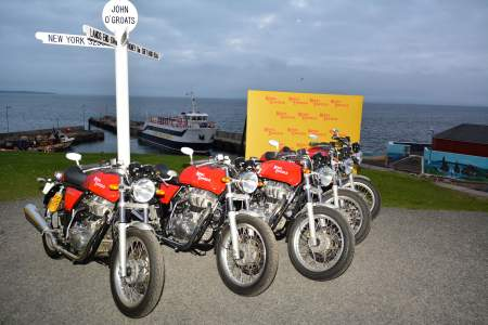 Continental GT's lined up at John O'Groats