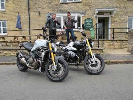 How much more Bike Social does it get than that? Our Ducati Monster meets BMW's RnineT, Mann on the left, Potter on the right. Not staged at all, honest.