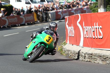2013 500cc Classic TT: John McGuinness at Ginger Hall on the Paton