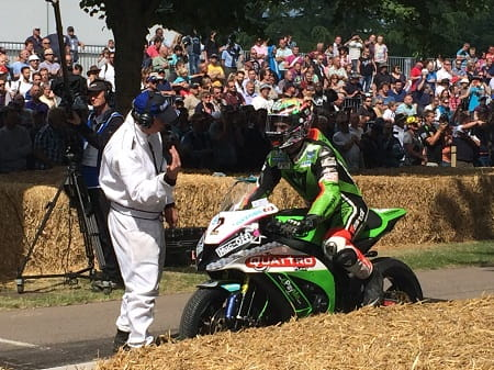 TT-winner James Hillier prepares to leave the line. He did most of it on the back wheel!