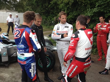 From L to R: Alex Lowes, Stuart Graham, Jenson Button, John McGuinness just hanging and talking cars and bikes.