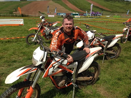 Bike Social's man Paul Taylor sports a mud moustache and a KTM Freeride.