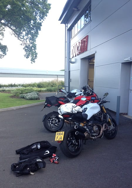 Monster prepares for travel at Ducati UK's Silverstone HQ.