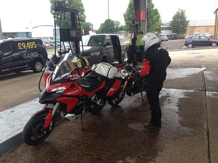The Multistrada and the Monster, and Ducati UK's Tim Maccabee. The Monster actually did 159 miles on a tank at one point.