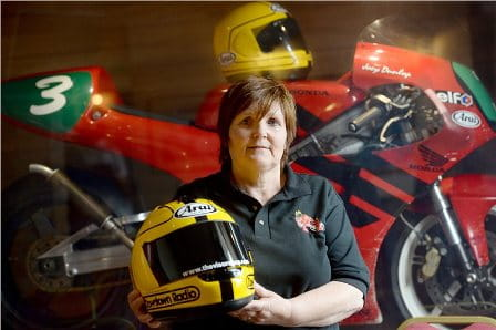 Joey's widow, Linda Dunlop with his replica lid from 1985