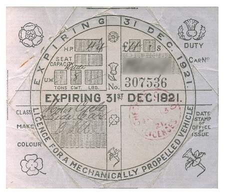The original tax disc from 1921