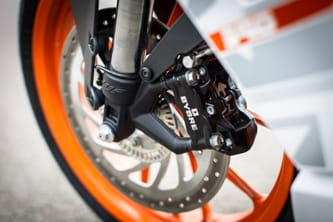 Bybre is a subsidiary of Brembo. The RC390 has a single 300mm disc.
