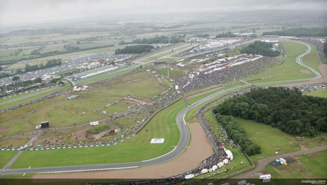 Overhead view of MotoGP at Donington Park. Photo courtesy of MotoGP.com