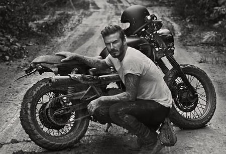 Beckham recently rode a Triumph Scrambler on TV