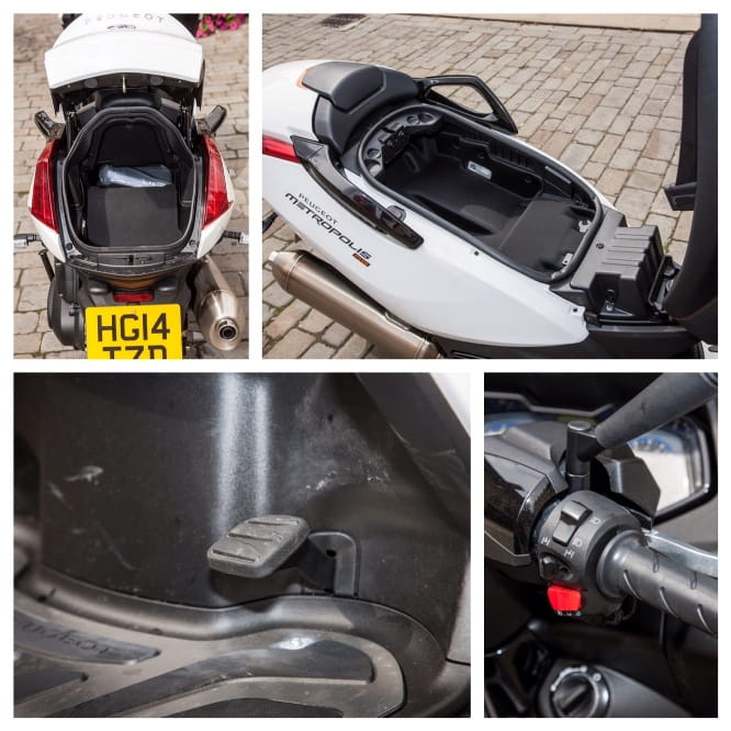 Boot, under seat storage, foot brake and the tilting wheel lock switch