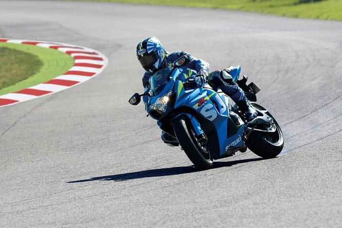 MotoGP star Randy de Puniet slides the GSX-R1000