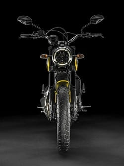 Single headlamp and raised bars; symbolic of a Scrambler